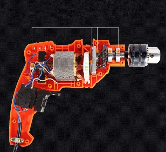 LongYun electric drill household impact drill 220v multi-function pistol drill wall screwdriver gun light hammer powder tools 3