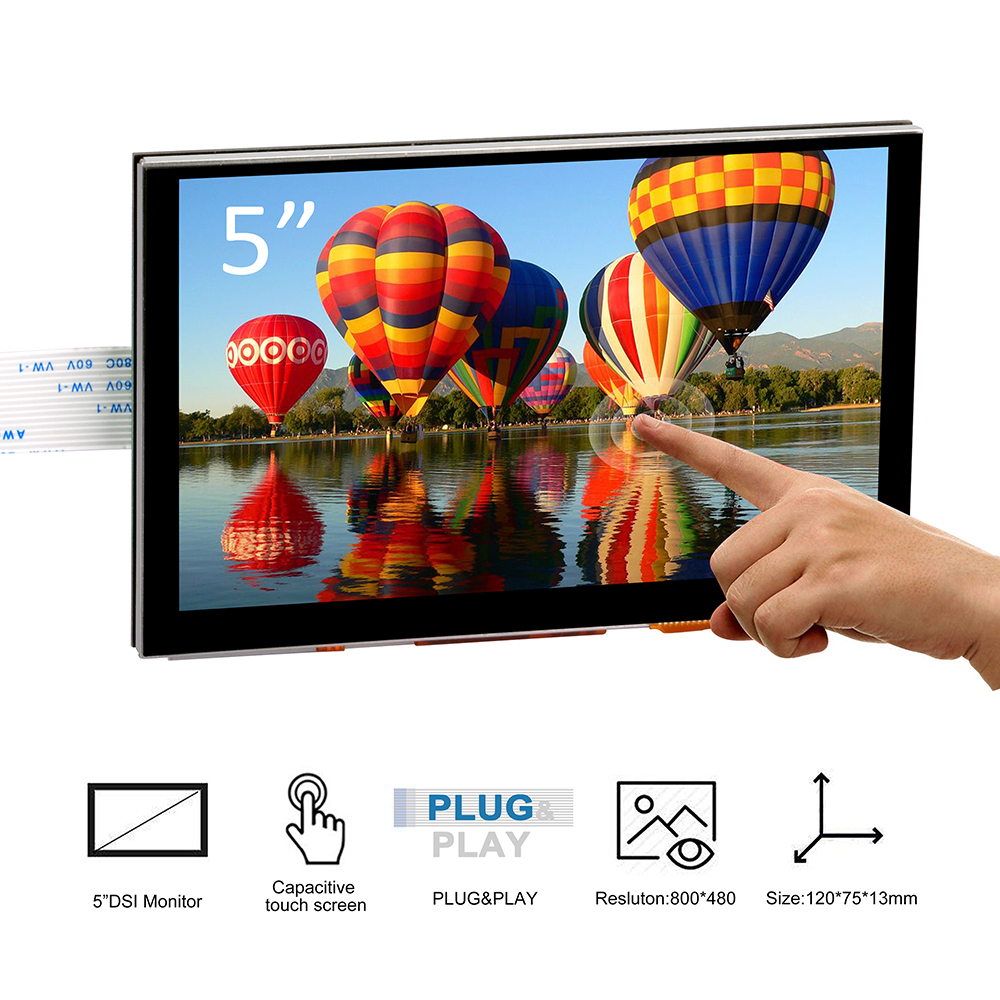 5 pouces 800x480 Raspberry Pi TFT écran tactile DSI connecteur LCD Support d'affichage framboise, Ubuntu MATE, Kali, système de RetroPie