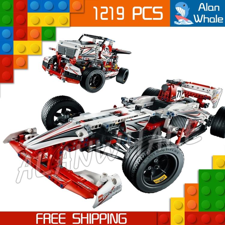 1219 pièces Techinic 2in1 nouveau F1 Grand Prix Racer 3366 course camion Figure Kit de construction blocs cadeaux jouets ensemble Compatible avec LegoING