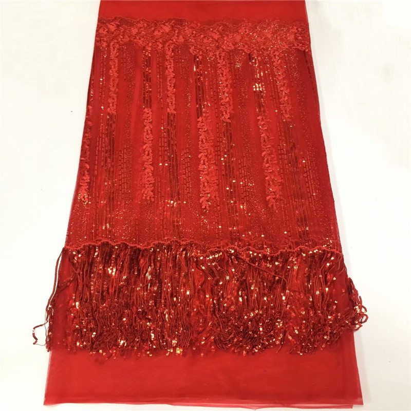 HFX Nigeria French Mesh Lace Red Sequin Embroidery Net Lace Fabric 2018 High Quality Tulle Lace Fabric with Tassels X1395