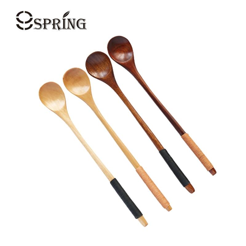 6 հատ երկար ձեռքով սուրճի թեյի գդալ Բնական փայտե գդալ հավաքածու Japaneseապոնական ոճով աղանդեր մեղրով գդալներ Բար խառնող գդալ փայտե սպասք