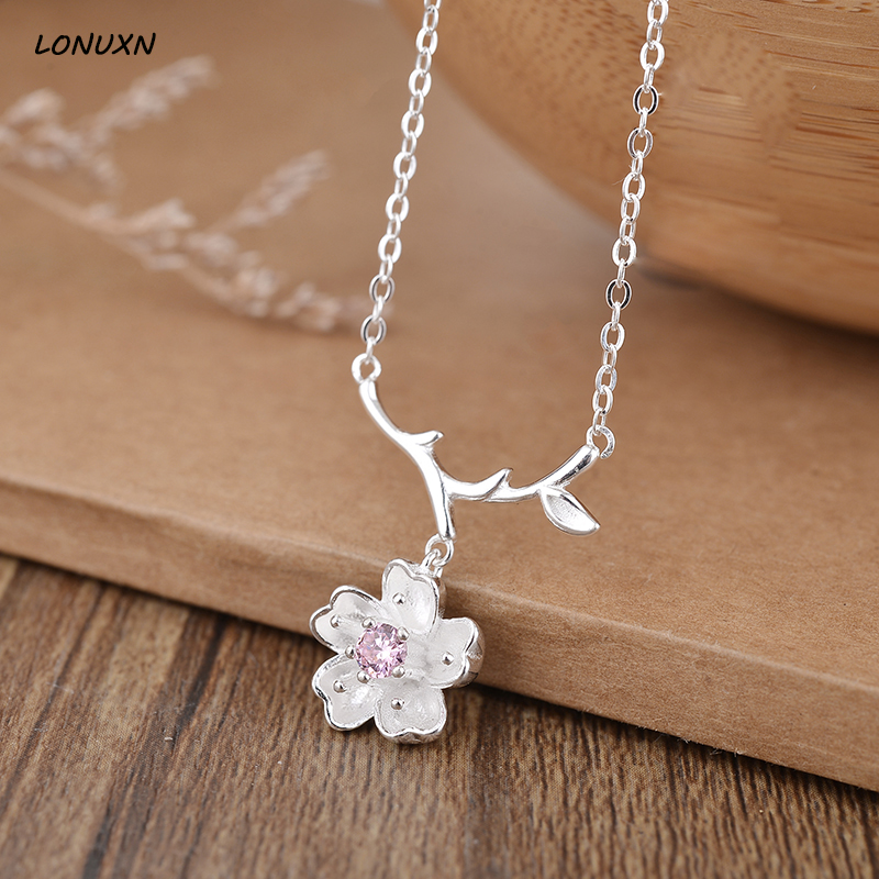 High quality short female 925 sterling silver lovely flowers pendant with chain sweet Japanese Plum Cherry blossoms lovers gift