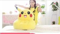 new yellow plush pikachu sofa toy creative pikachu design stuffed sofa doll gift about 54x45cm 0410