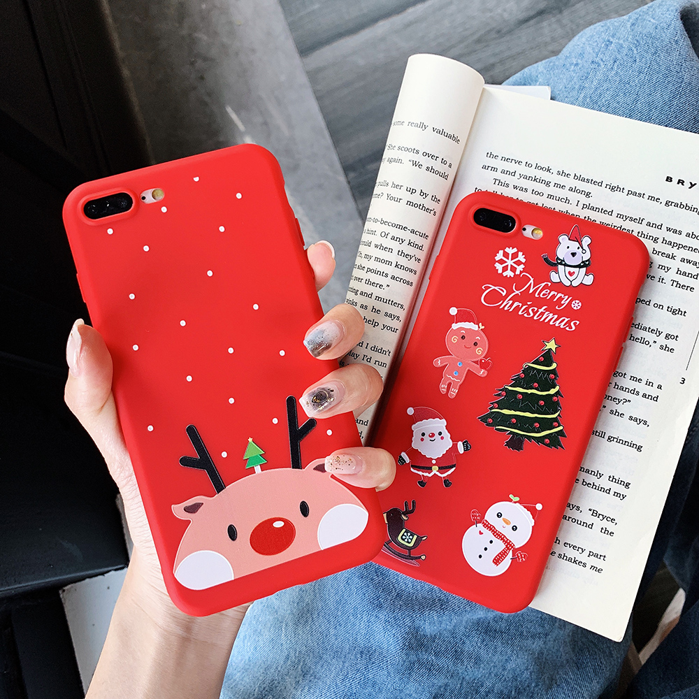 Cute Christmas Iphone 7 8 6 6S Plus X Litchi Pattern Elk Animal Silicon Red Dog Tree Phone Cover For Iphone X XS Max XR