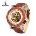 Бобо птица WK12 красного сандалового дерева и Сталь подвергается механические часы Винтаж Бронзовый Скелет часы мужской Античная стимпанк а...