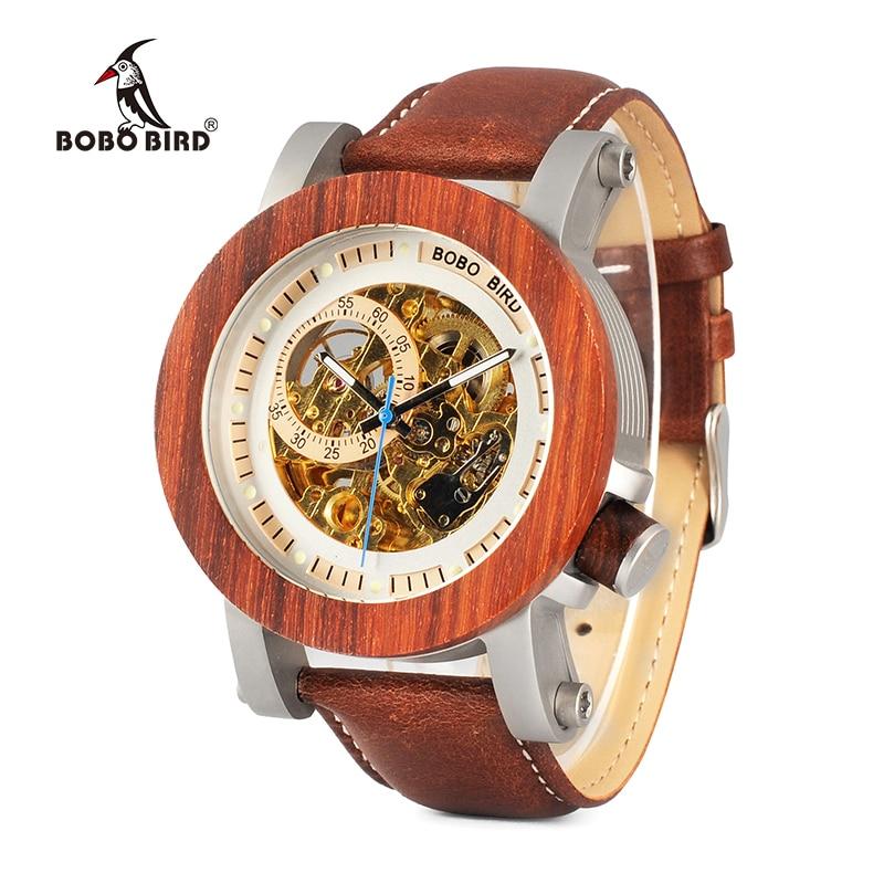 BOBO BIRD WK12 Red Sandalwood&Steel Exposed Mechanical Watch Vintage Bronze Skeleton Clock Male Antique Steampunk Automatic 機械 式 腕時計 スケルトン