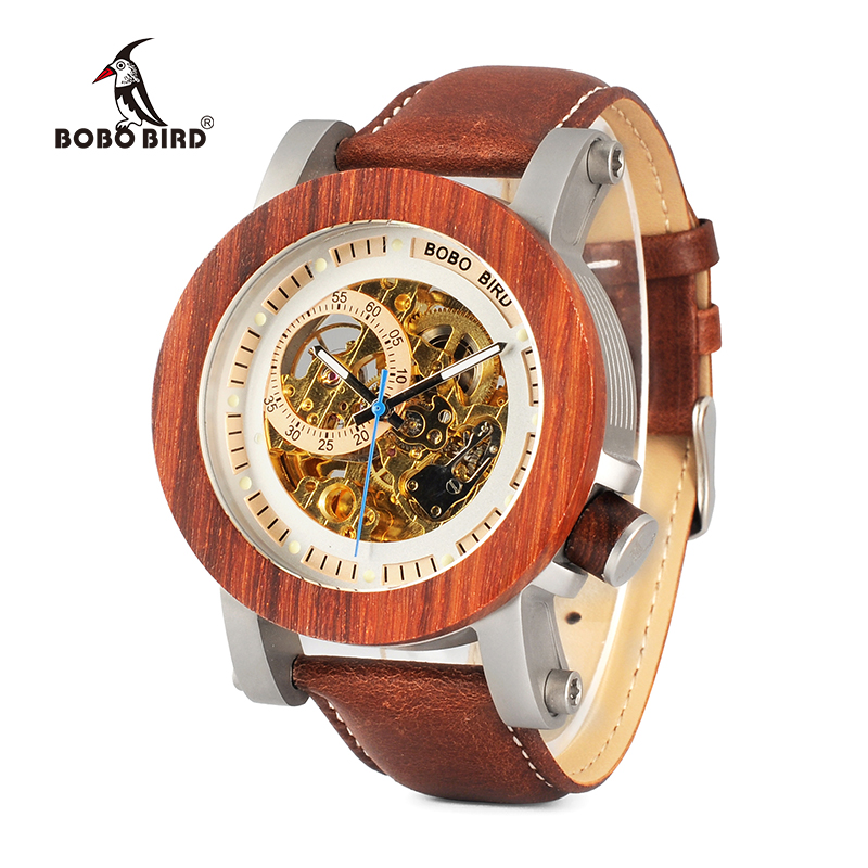 BOBO BIRD WK12 Red Sandalwood Steel Exposed Mechanical font b Watch b font Vintage Bronze Skeleton