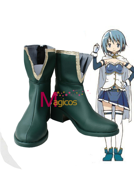 Puella Magi Madoka Magica Sayaka Miki Cosplay Shoes Boots Custom Made Green