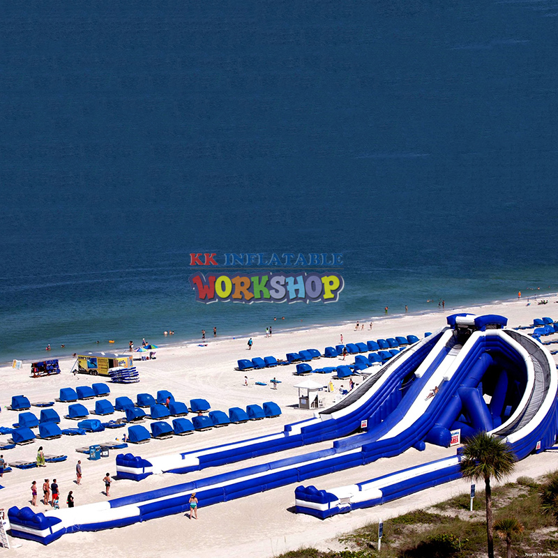 Beach Island Inflatable Water Park Giant Inflatable Hippo Cliffhanger Water Slide In Sapin