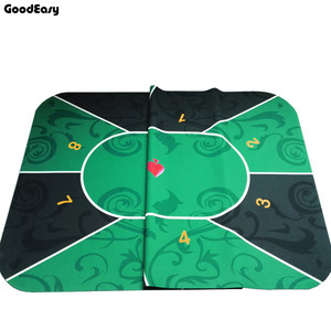 Image 3 - 2.4m Deluxe Suede Rubber Texas Holdem Poker Tablecloth with Flower Pattern Casino Poker Set Board Game Mat Poker Accessory