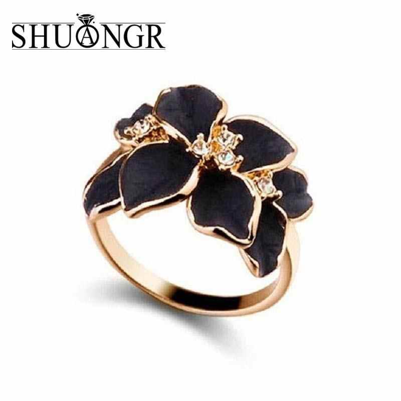 SHUANGR 2017 ขายร้อนเครื่องประดับแหวนสีออสเตรียคริสตัลสีดำและสีขาวดอกไม้งานแต่งงานแหวนสำหรับผู้หญิง