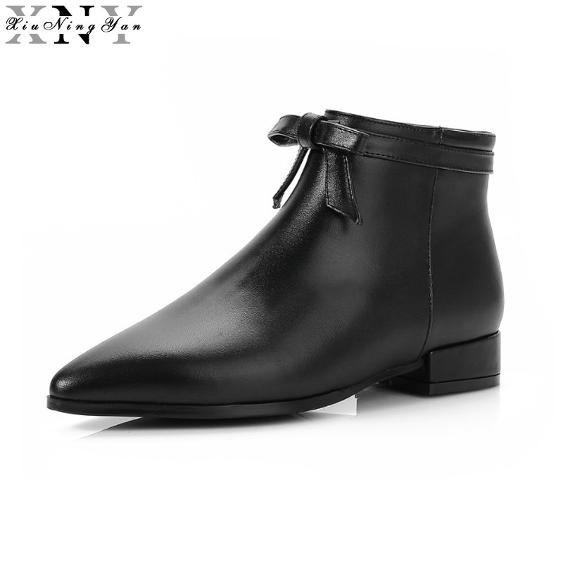 XiuNingYan Women Ankle Boots Cow Leather Sexy Style Zipper Decoration European Designer Thick Low Heels Pointed Toe Big Size