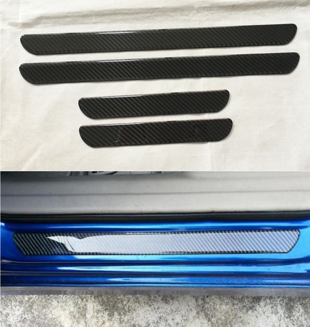 Carbon Fiber Exterior Door Sill Scuff Plate Threshold Cover Plate