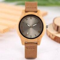 Stylowe Kobiety Drewniany Zegarek Błyszczący Połysk Metalic Twarzy Cyframi rzymskimi Eleganckie Panie Dziewczyny Zegarek Hot Powieść Drewna Bambusa Zegar