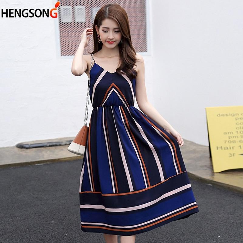 HENGSONG 2018 New Boho Dress Women Casual Spaghetti Strap A Line Summer Party Dress Women Strip Sundress Vestidos 718227