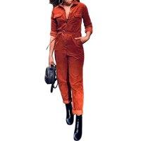 Spring Autumn Velvet Jumpsuit Fashion Pockets Lady Bodysuit Long Sleeve Slim Jumpers Womens Romper Streetwear SJ1251Y