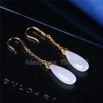 Beautiful 925 Sterling Silver White HeTian Jade Water Oval Dropping Drop Lucky Hook Earrings Girl's Charm Gift Fine Jewelry