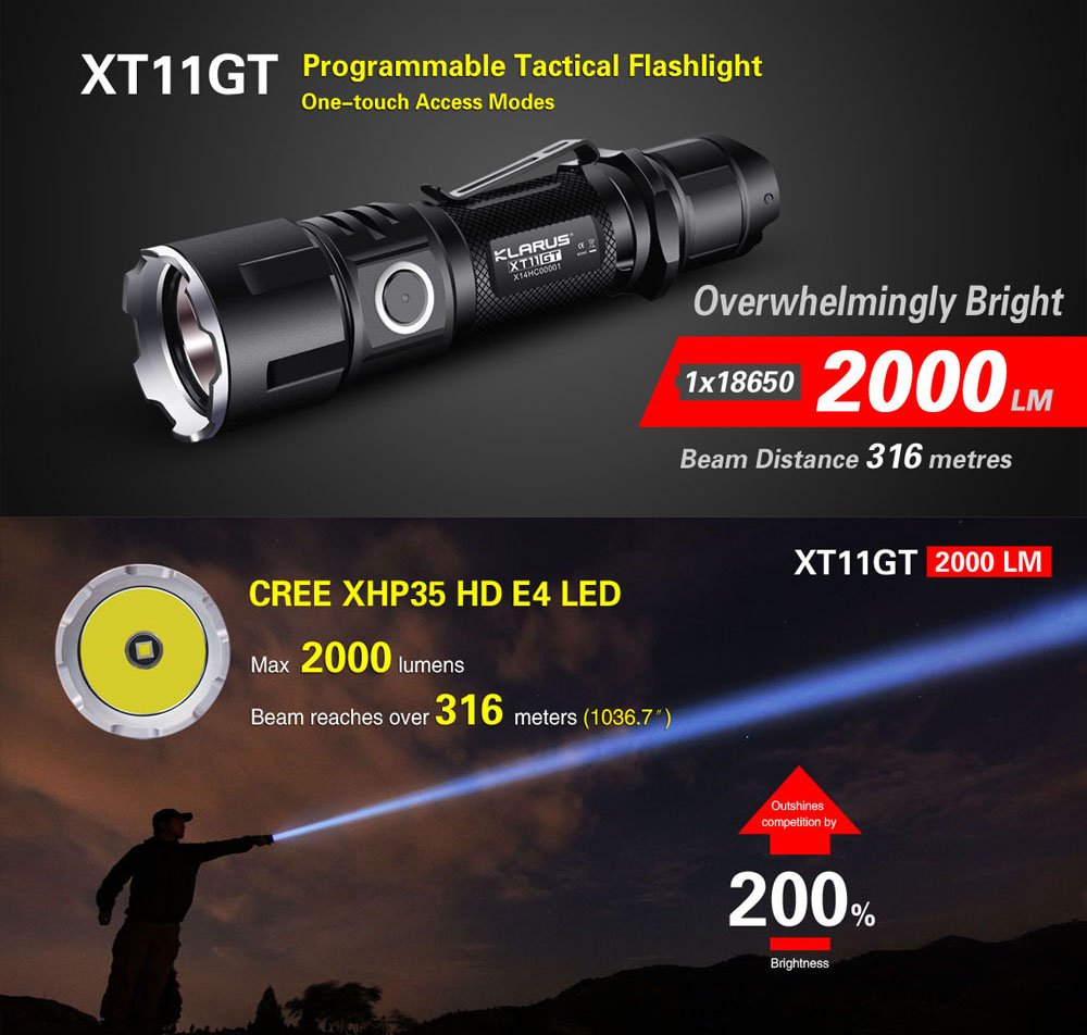KLARUS XT11GT Waterproof 2000 Lumens LED Flashlight CREE XHP35 HD E4 LED Triple Switchs One Touch Tactical Rechargeable Lantern new klarus xt11gt cree xhp35 hi d4 led 2000 lm 4 mode tactical led flashlight free usb port and 18650 battey for self defence