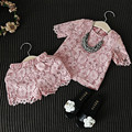 Roupa das meninas Definir Nova Moda Rendas Floral Camisa Rosa Calções Roupas Casuais Terno Do Bebê Roupa Menina de Alta Qualidade Crianças Roupas