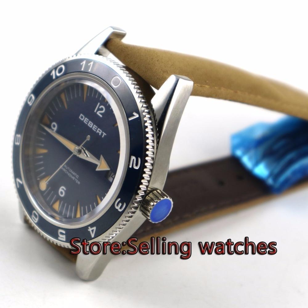 41 мм debert синий развертывания застежка сапфировое стекло miyota Автоматическая Мужские часы
