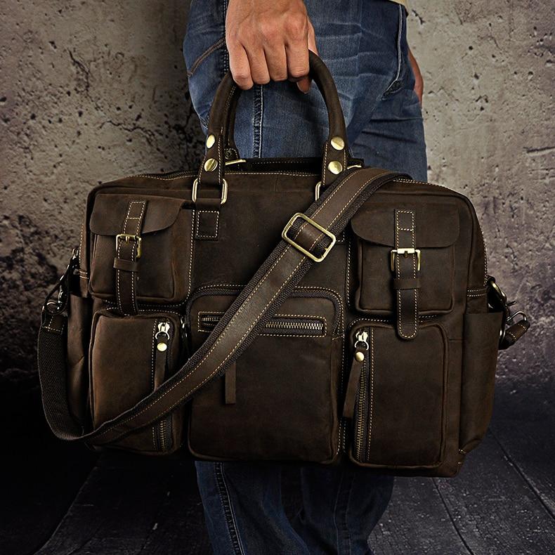2012 fashion vintage galen häst läder handväska resväskan manliga - Väskor för bagage och resor - Foto 3