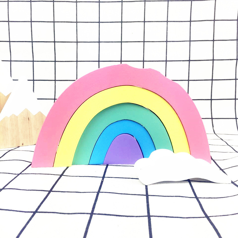 Wooden Rainbow Building Blocks Set