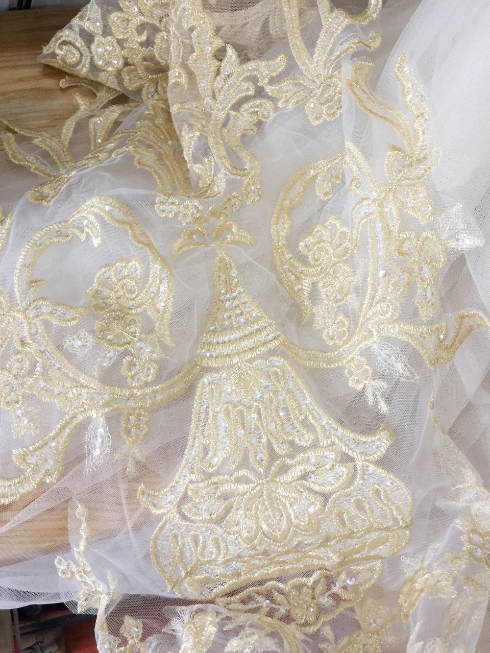 2 pieces God Sequin Largar Lace Applique Gold Embroidery Bridal Lace Motif Patch for Prom Dress Costumes Design in Patches from Home Garden
