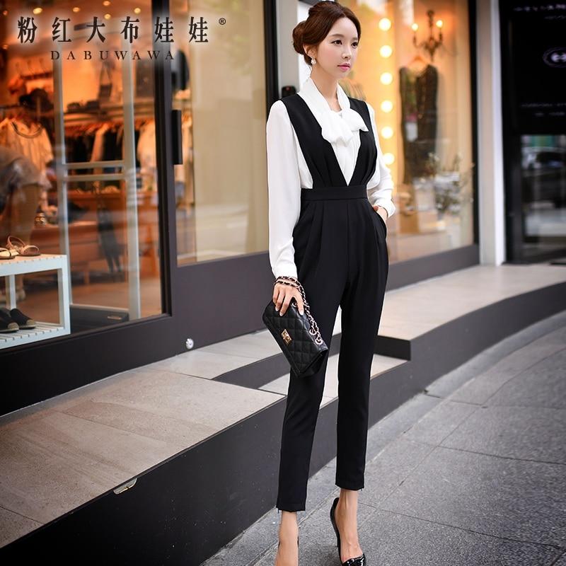 Femmes coréen Taille Tailles Bureau Chute 2016 Originelle See Pantalon Mode De Mince Nouvelle Chart Haute Grandes Poupée Rose Salopette vwt6Xw