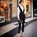 Dabuwawa outono 2016 nova coreano magro waisted calças moda tamanhos grandes cintura alta macacão escritório mulheres ROSA BONECA