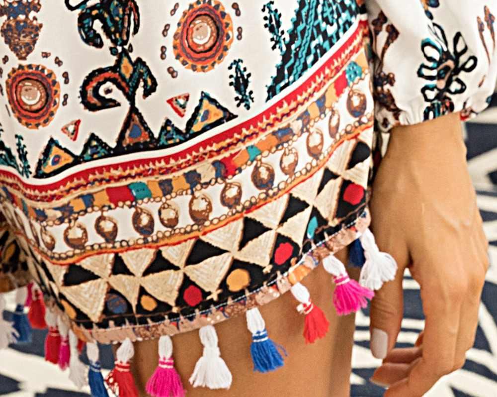 monos cortos de verano enterizos para mujer 2019 mono playa talla grande mono de algodón estampado con borlas mamelucos boho con cuello en v ropa casual  T34145
