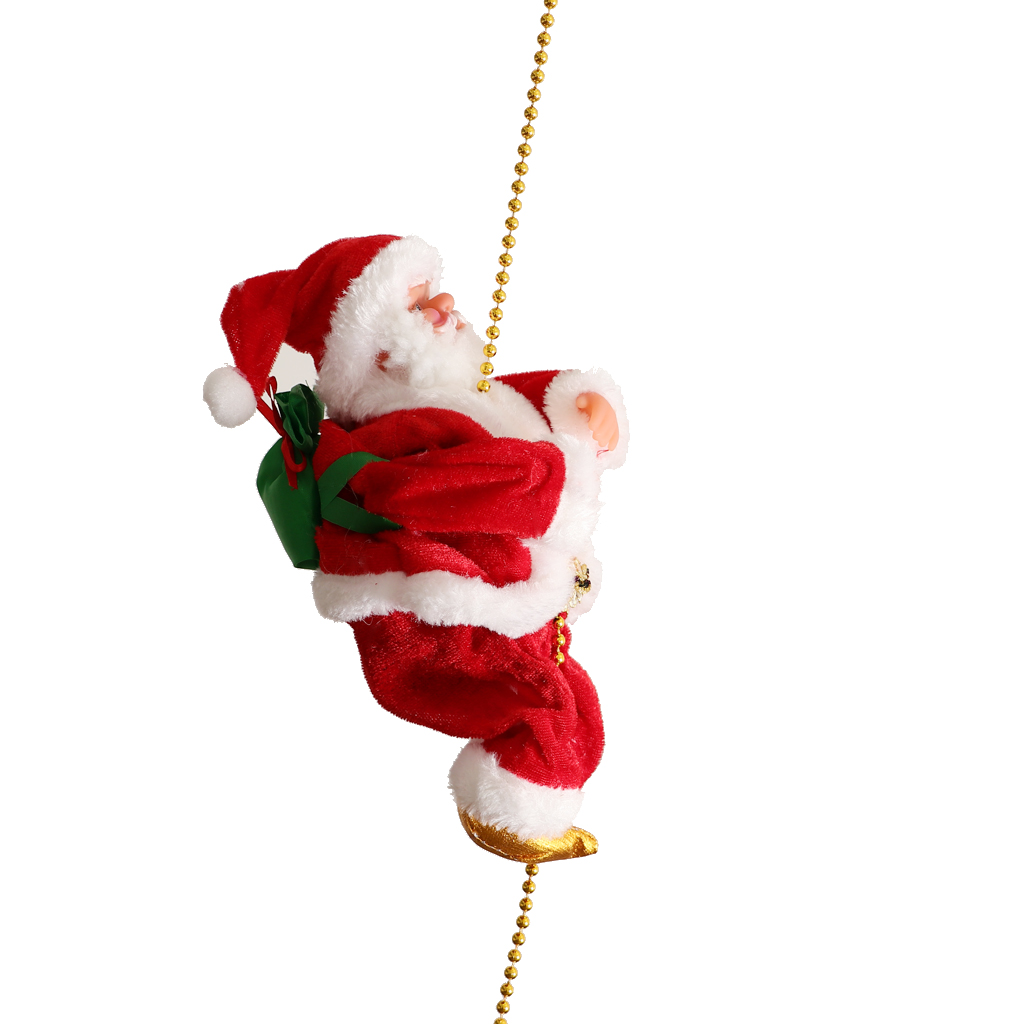 Pieces of 2 Novelty Plush Fabric Musical Climbing Santa Claus Moving Figure on Plastic Chain 9 Inch