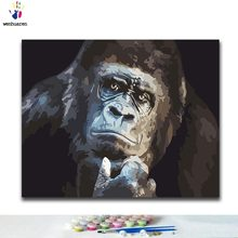 DIY Coloring paint by numbers Black gorilla paintings by numbers with kits 40x50 framed(China)