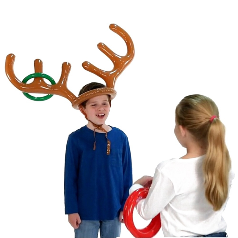 Christmas Inflatable Deer Head Ring Throwing Ring Toy Children Outdoor Leisure Sports Christmas Decoration Gifts Toy Game Props in Party Hats from Home Garden