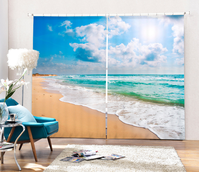 Ocean View 3D Photo Printing Blackout Window Curtains For Living Room Bedding Hotel Office