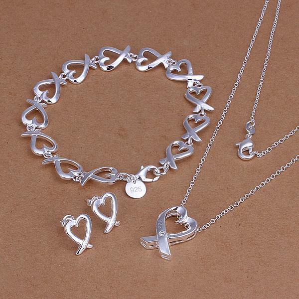 Của phụ nữ Đồ Trang Sức Đặt bracelet + Vòng Cổ + Earrings 925 Sterling Silver Fashion Quyến Rũ Đầy Đủ Tình Yêu Hearts charm bijoux de plata
