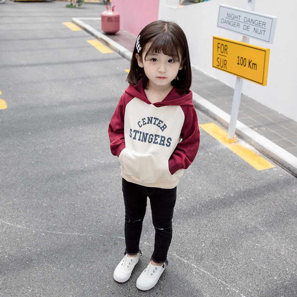 Children Baby Kids Girls Cute Letter Print Long Sleeve Pockets Sweatshirt Hooded Pullover Clothes Tops 2019 New