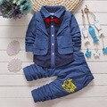 Британский стиль младенческая baby boy одежда набор 2016 новая Коллекция Весна мальчиков костюмы 2 шт. горошек нагрудные с длинным рукавом кардиган куртка + брюки