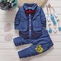 British style infant baby boy clothes set 2016 new Spring baby boys suits 2pcs polka dot lapel long sleeve cardigan jacket+pants