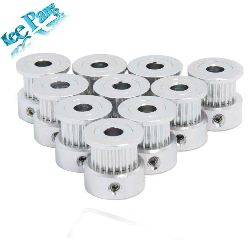 10pcs/Lot GT2 Timing Pulley 20teeth ( 20 teeth ) Alumium Bore 5mm fit for GT2 belt Width 6mm