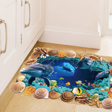 3d Underwater World Floor Stickers Waterproof Fish Bathroom Decoration Wall Stickers Home Decor Poster
