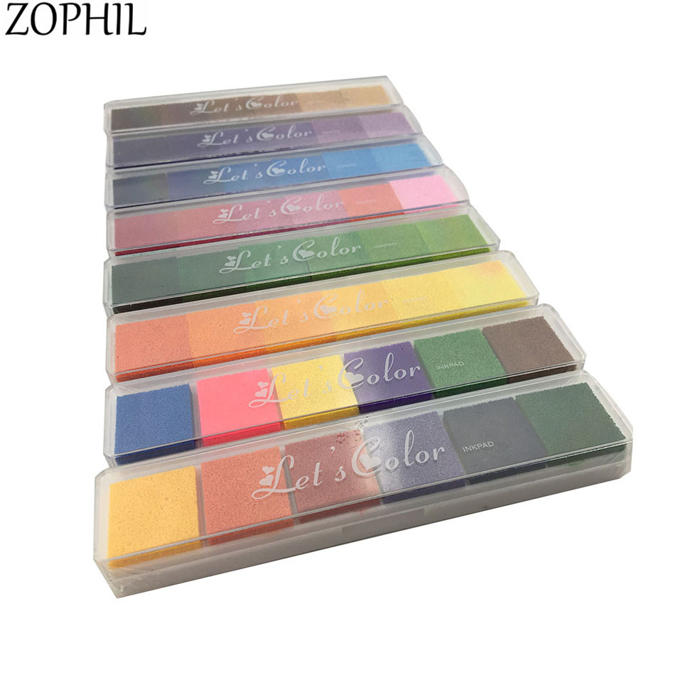 ZOPHIL 6in1 Gradient Colors Stamps Ink Pad Scrapbooking Stamping DIY Craft Supplies Painting Decoration Card Making Supplies