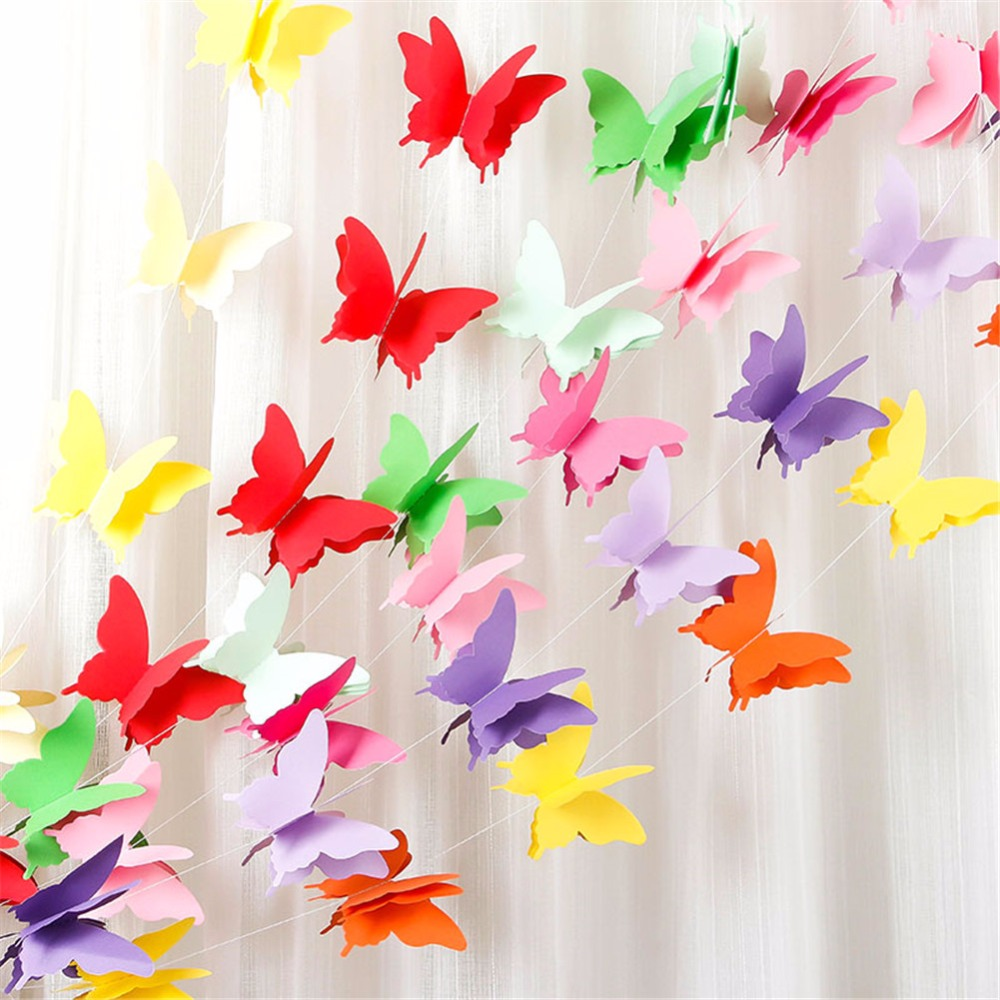 1pcs 2.8m butterfly Round balloon Paper Garlands colorful Christmas Wedding Party Banner Hanging Paper Garland Room Decoration