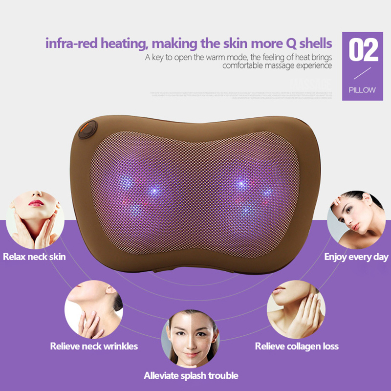 SUNWTR 4 Balls Dazlle Color Heating Kneading Neck Back Body spa Massage Pillow Home Car Electric Shiatsu Massage Cushion Device electric antistress therapy rollers shiatsu kneading foot legs arms massager vibrator foot massage machine foot care device hot