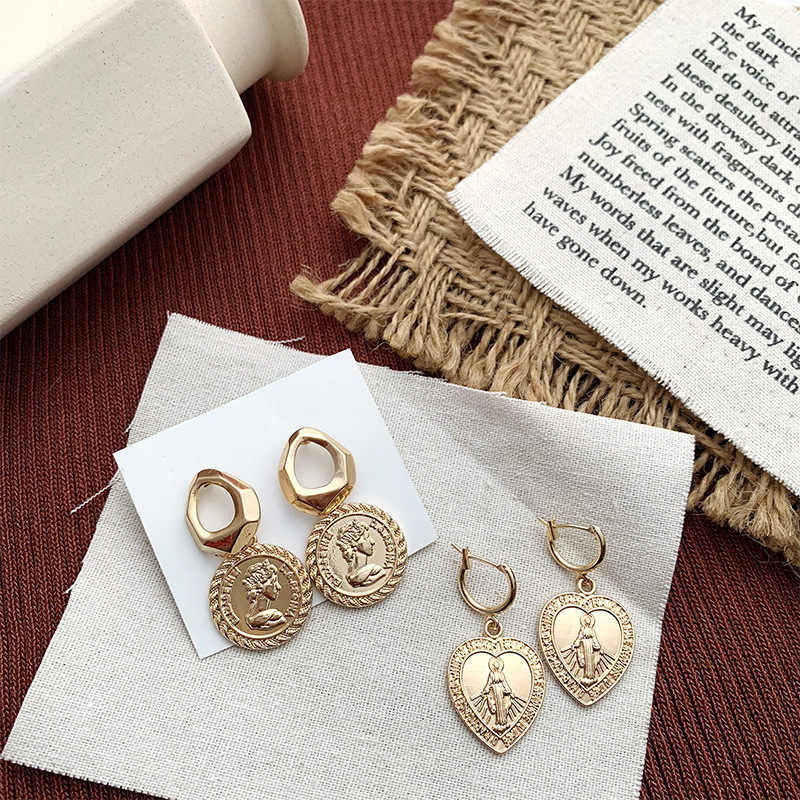 UJBOX European American Earrings Gold Coin Love Heart Earrings Gold Alloy Virgin Mary Earrings Without Pierced Earrings Gift