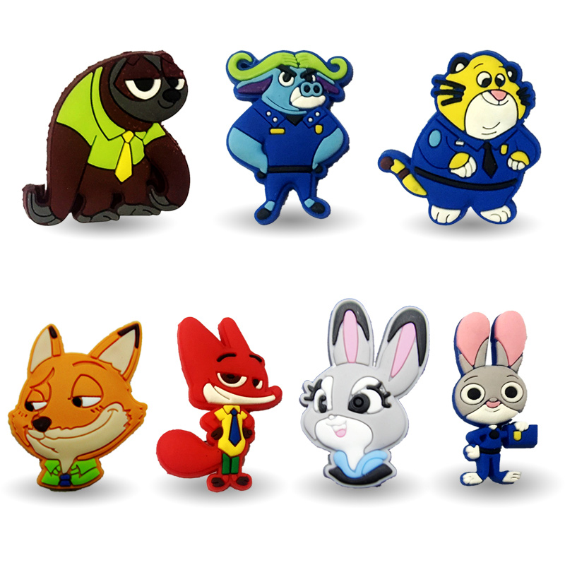 Fashion 7pcs sale Zootopia decoration PVC Pins badges brooches collection DIY charms fit Clothes Bags shoes kids gift new 1pcs single the secret life of pet decoration pvc pins badges brooches collection diy charms fit clothes bags shoes kid gift