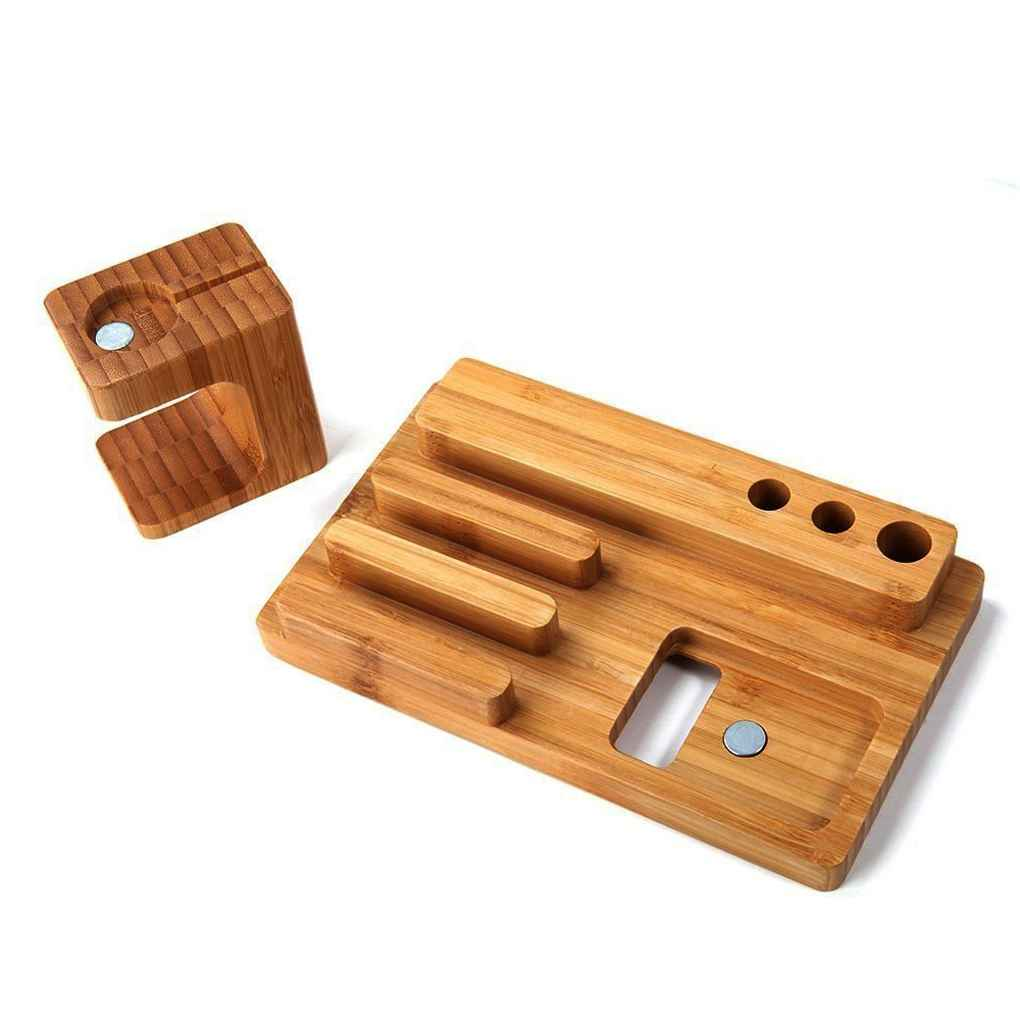 4 in 1 Holder for Apple Watch 38/42mm Bamboo Cradle Bracket Dock for Phones Business Card Pen Station Organizer 2