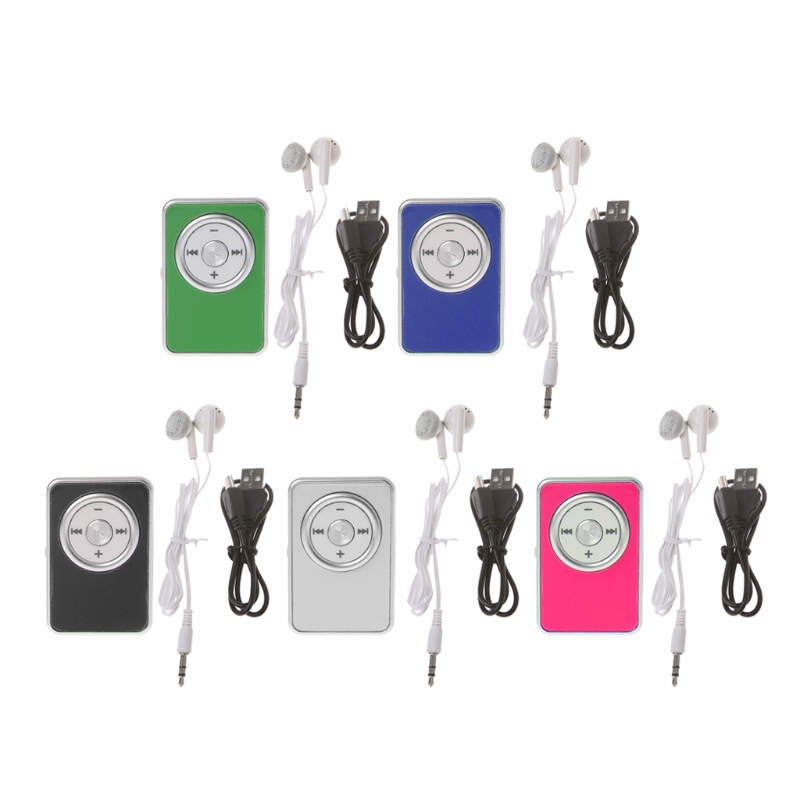 Mini Clip Music Media MP3 Player Support TF Micro SD Card With Earphone USB Cable