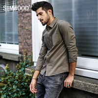 SIMWOOD 2017 Autumn Winter Casual Shirts Men Slim Fit Vintage 100 Cotton Shirt Male Long Sleeve