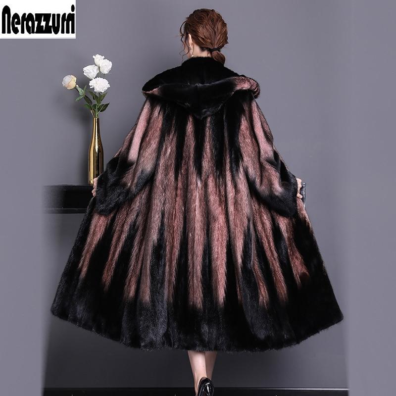 Nerazzurri réel vison manteau de fourrure femmes 2019 hiver avec capuche à manches longues vison naturel manteaux grande taille russe pardessus 5xl 6xl 7xl
