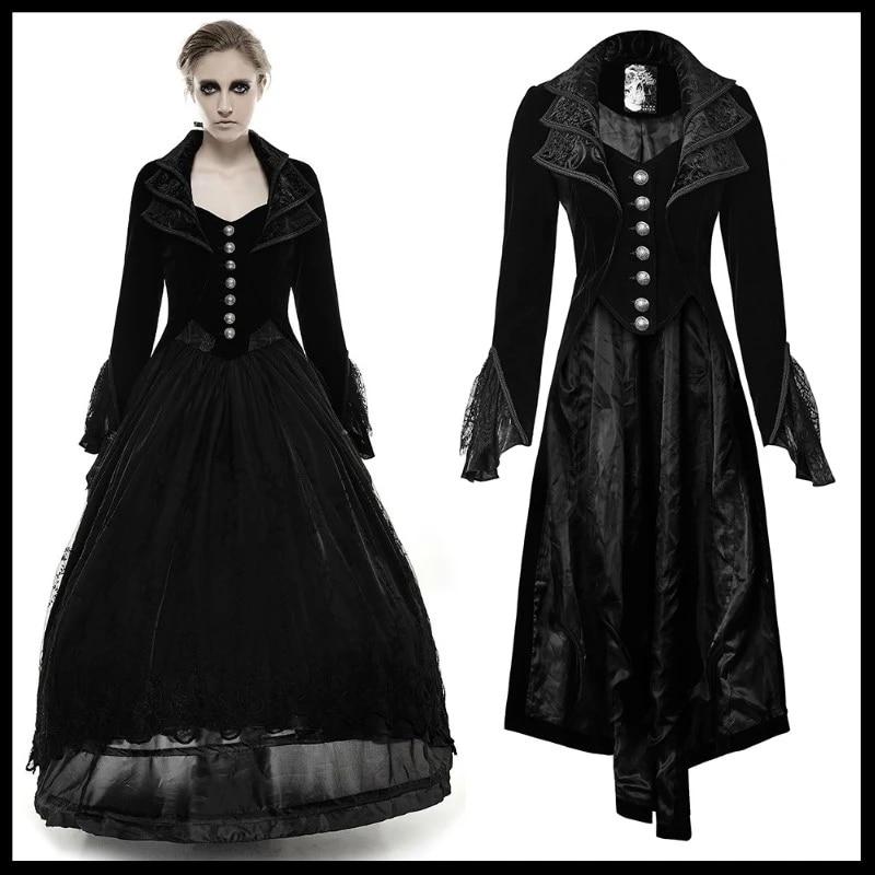 Women Retro Gothic Punk Rave Long Coats Brocade Steampunk Victorian Dress Jacket